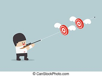 Businessman shoot two targets with one bullet, VECTOR, EPS10