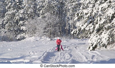 People sledding in the winter forest mother pulling daughter...