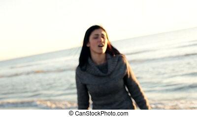 woman looking camera in love - Beautiful woman looking...