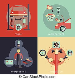 Auto Service Flat - Auto service design concepts set with...