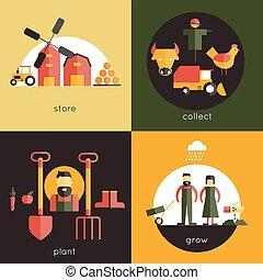 Farm Flat Set - Farm design concept set with store collect...