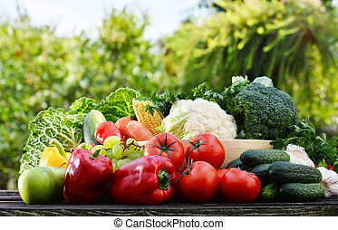 Assorted raw organic vegetables in the garden