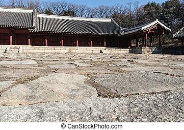 Jongmyo Shrine is a Confucian shrine in Seoul, South Korea,...