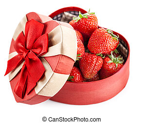 Fresh strawberry in box with bow gift on valentines day -...