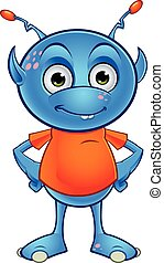 Light Blue Alien Character - A cartoon illustration of a...