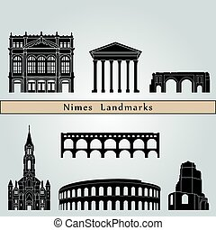 Nimes landmarks and monuments isolated on blue background in...