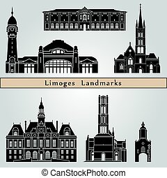 Limoges landmarks and monuments isolated on blue background...