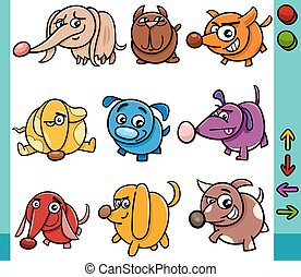 dogs game characters cartoon illustration - Cartoon...