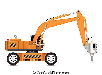 Backhoe - Illustration of backhoe and hydraulics hammer...