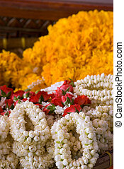 Flower garlands at temple in Thailand - Puang malay, flower...