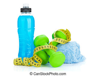 Two green dumbells, tape measure and drink bottle. Fitness...
