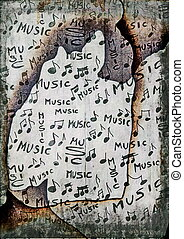 musical notes old burnt paper