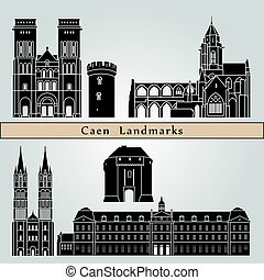 Caen landmarks and monuments isolated on blue background in...