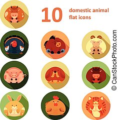 Flat icons with animals