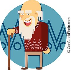 Old man - Vector image of a cartoon old man