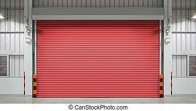 Shutter door or rolling door, night scene