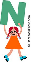 letter N kid - Happy little girl holding a giant letter N