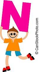 letter N kid