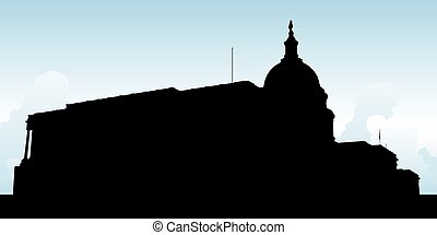 United States Capitol Building - Silhouette of the United...