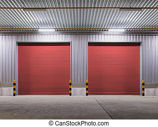 Shutter door or rolling door red color, night scene.