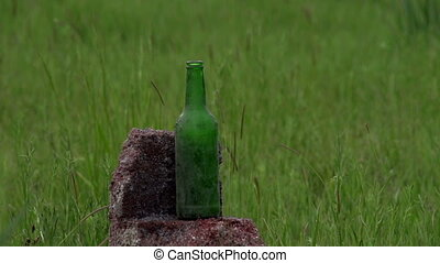 Shooting Bottles - Bottle shatters from getting a hunting...