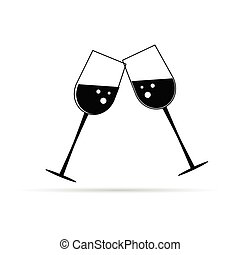two glass of wine black vector illustration