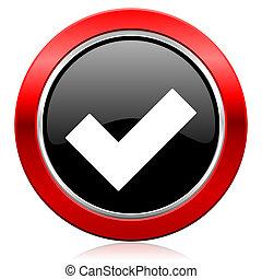 aceitar, ícone, cheque, sinal,