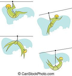 Zip Line Rider Icon Set - An image of a zip line rider icon...