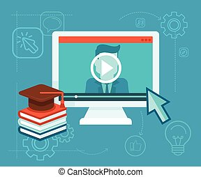 Online education - Vector webinar concept in flat style -...