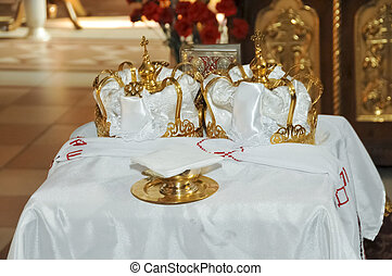 Two Orthodox Wedding Ceremonial Crowns Ready for Ceremony