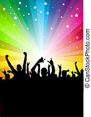 Star Crowd Background - A crowd of people cheering Vector...