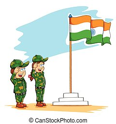 Kids saluting Indian flag