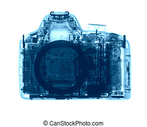 DSLR photo camera under the X-rays in blue tones