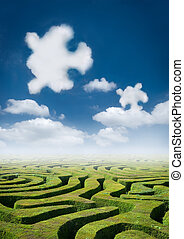 Puzzling Elements. - A maze with curious puzzle clouds...