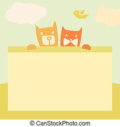 Vector banner with space for text. Pets. Cartoon illustration