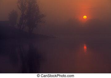 Landscape, sunny dawn, sunrays in fog - Landscape, romantic...