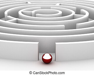 3D Circular maze on the white background