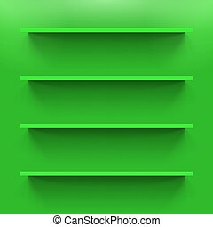 Shelves - Four gorizontal green bookshelves on the  wall