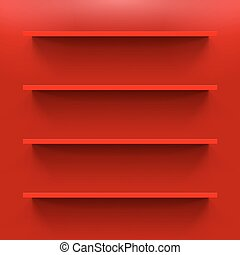 Shelves - Four gorizontal bookshelves on the red wall