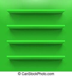 Shelves - Gorizontal green bookshelves on the  wall