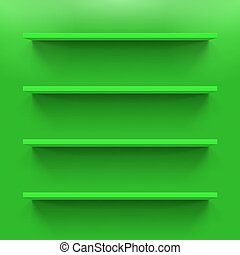 Shelves - Four gorizontal green bookshelves on the green...