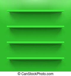 Shelves - Four gorizontal green bookshelves on the green...