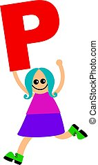 letter P kid - happy little caucasian girl holding a giant...