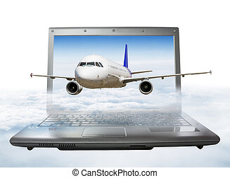 The plane takes off from the laptop screen, soaring in the...