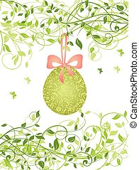 Easter card with hanging egg