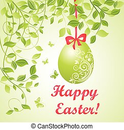 Easter green card with hanging egg