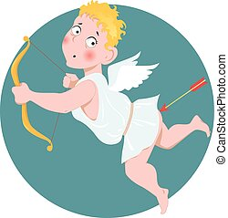 Stupid Cupid - Cartoon Valentine Day Cupid shot himself in...