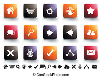 Internet Icon Set | Warm High Gloss - A collection of 15...
