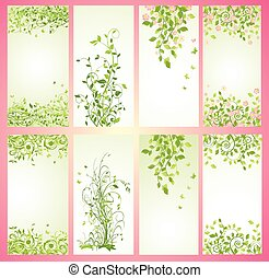 Green spring vertical banners
