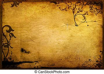 植物, 風格, 質地, 背景, 框架